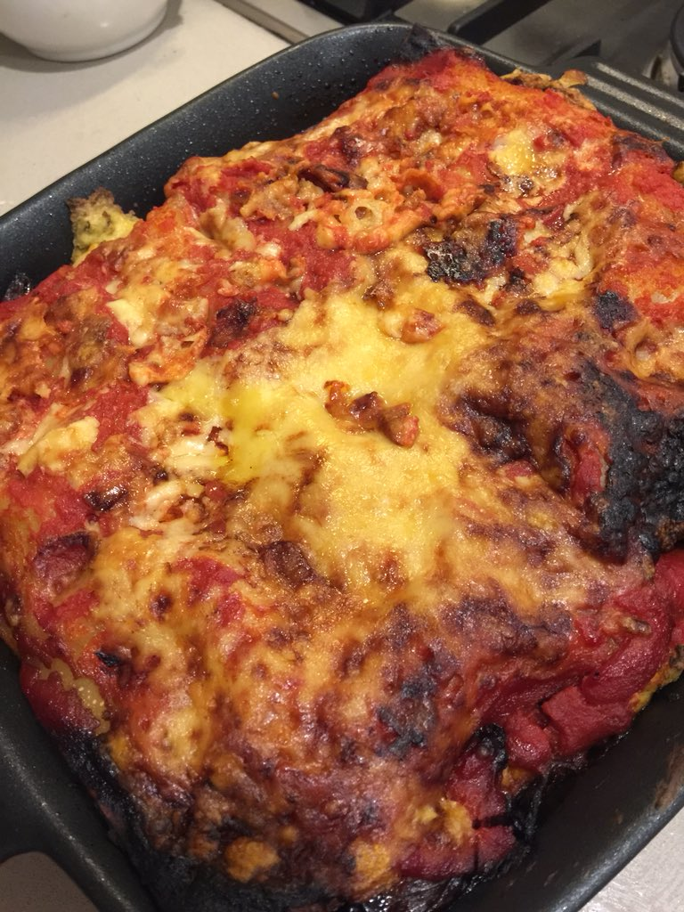 @Asher_Wolf Roast veggie lasagna. Braved the tofu and nutritional yeast recipe! https://t.co/B5edPdMquD