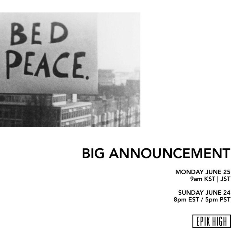 Big announcement from #EpikHigh to you, coming on Monday.  #EPIKHIGH #에픽하이 #JUNE25 #9am_KST #JUNE24 #8pm_EST #YG