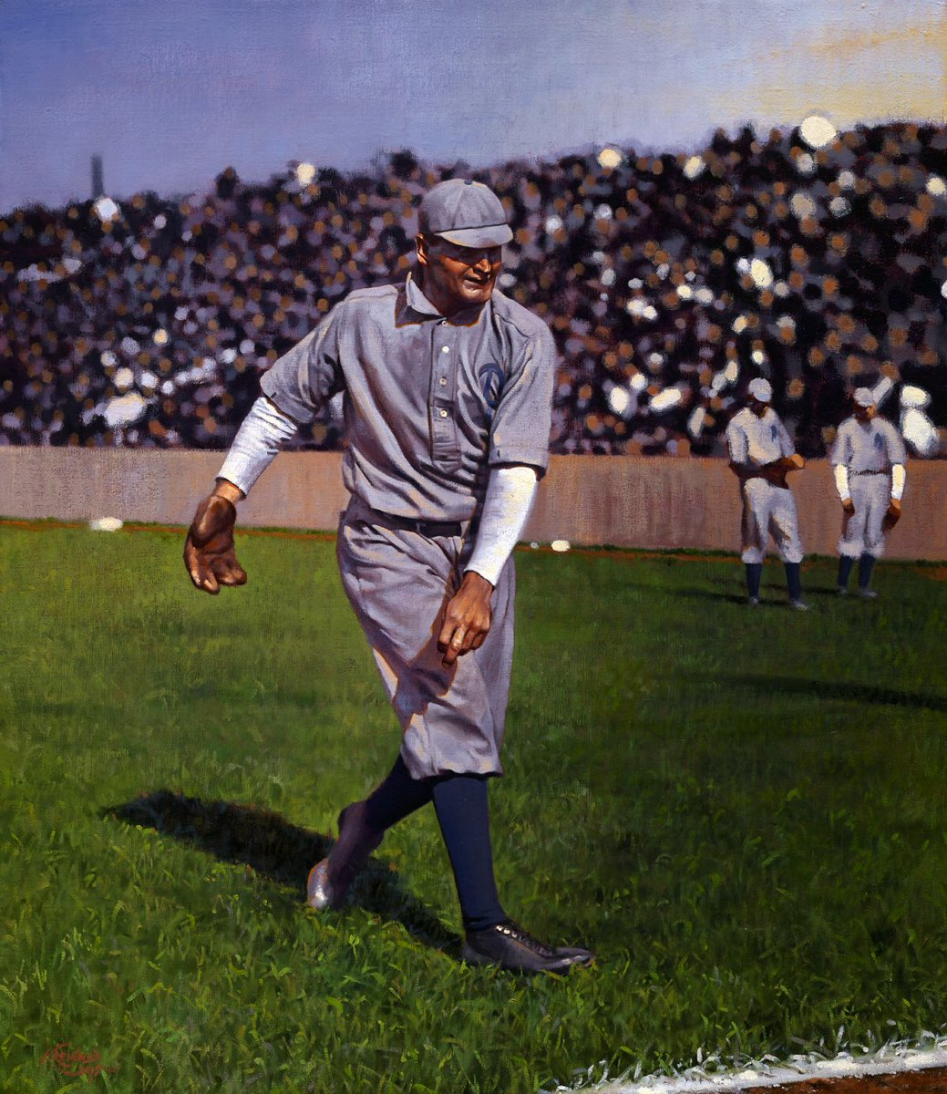 My painting of the great Rube Waddell warming up on the sidelines at Huntington Avenue Grounds in 1902. <br>http://pic.twitter.com/WmBidPVnAT
