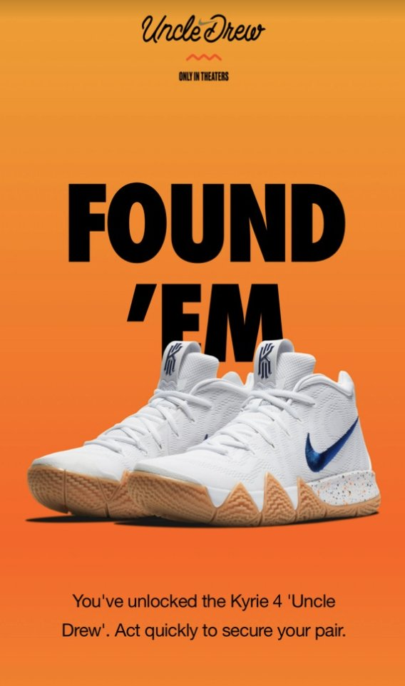 83cbbeb8666 ... Drew  available via SNKRS Cam - scan Uncle Drew Movie Poster Or just  cop them here Jimmy Jazz http   bit.ly 2luhDZO Shoe  Palace http   bit.ly 2lvbRHC ...