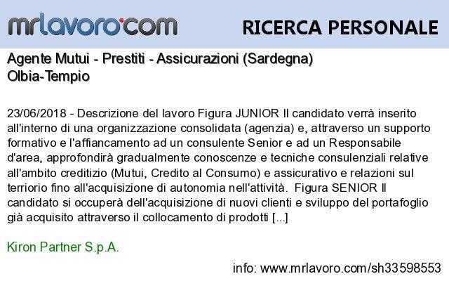 Nuove offerte di #lavoro #Olbia:Agente Mutui - Prestiti - Assicurazioni (Sardegna)Info:  https:// www.mrlavoro.com/tw33598553  - Ukustom