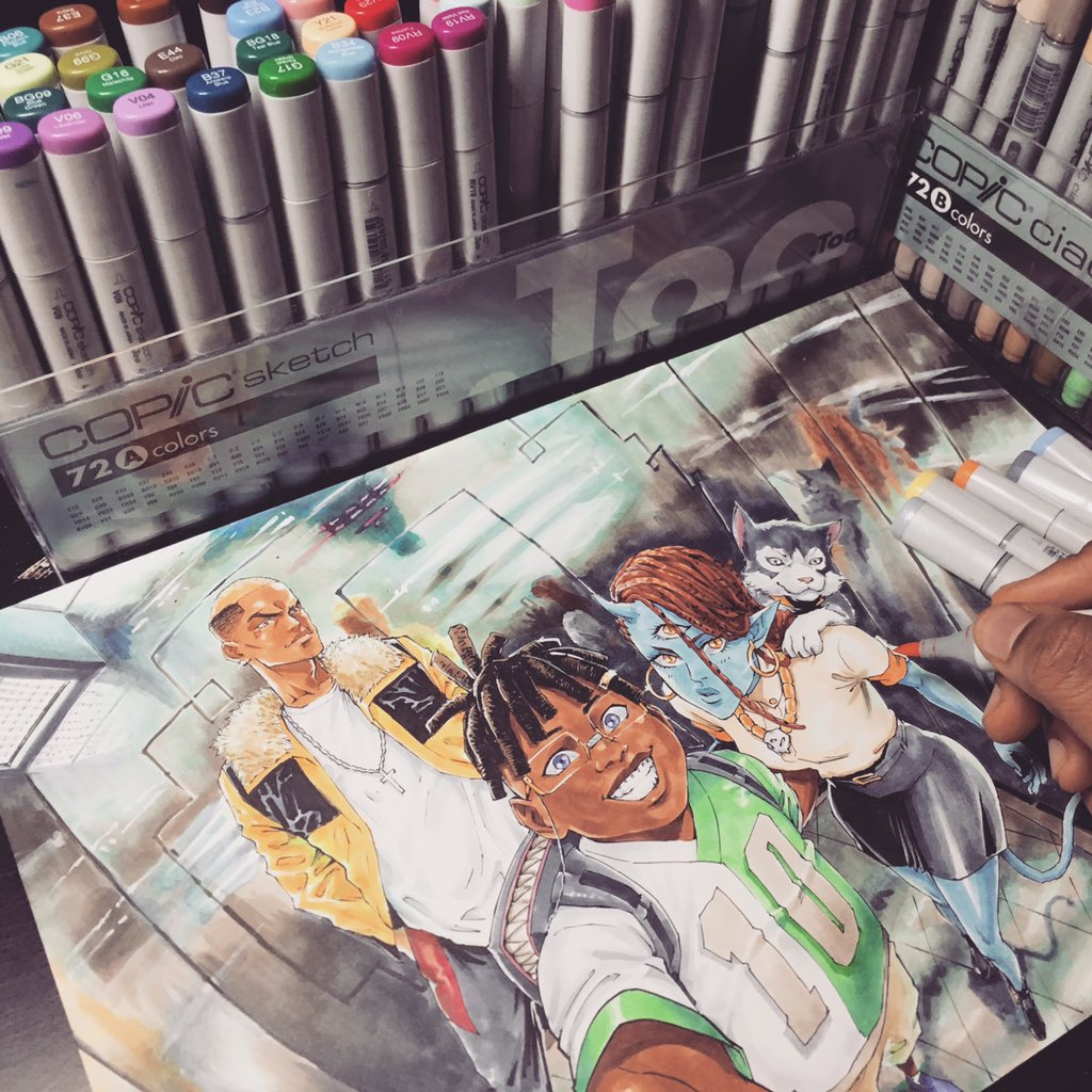 Getting more comfortable with #copicmarkers on my #manga illustration. Retweet and I get to eat... ps I&#39;m hungry. <br>http://pic.twitter.com/wqiZOmlcDJ
