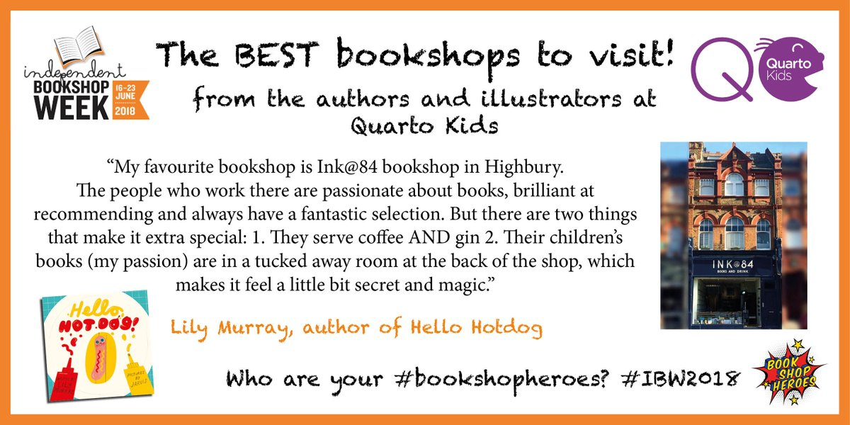 Another author shares their favourite bookshop for #IBW2018 #Bookshopheroes @lilymurraybooks, author of the uproarious domestic drama (@GuardianBooks) Hello, Hot Dog has chosen the lovely @Ink84Books 🙌🏽