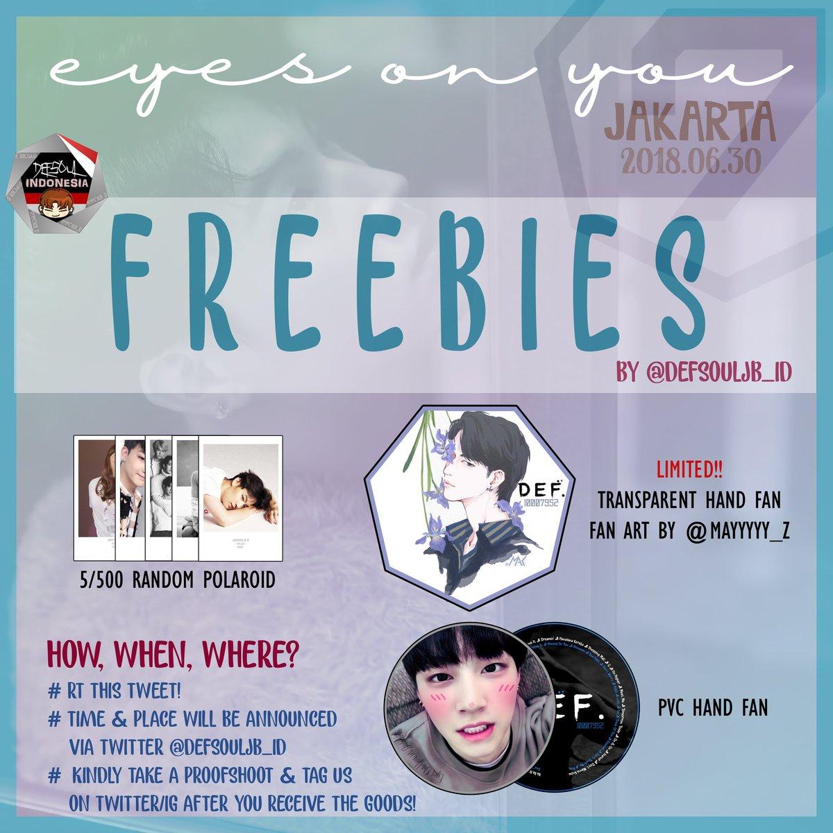 #EyesOnYouinJKT Freebies Fansupport by @DEFSOULJB_ID    Polaroids Set  PVC Hand Fan   (Limited!) Transparent Hand Fan of beautiful 뽐 FanArt by @Mayyyyy_Z   Special Giveaway &amp; Lucky Draw  Kindly help RT and share~   #EyesOnYouinJakarta #GOT7inJKT #GOT7 <br>http://pic.twitter.com/yM7cIbmxL3
