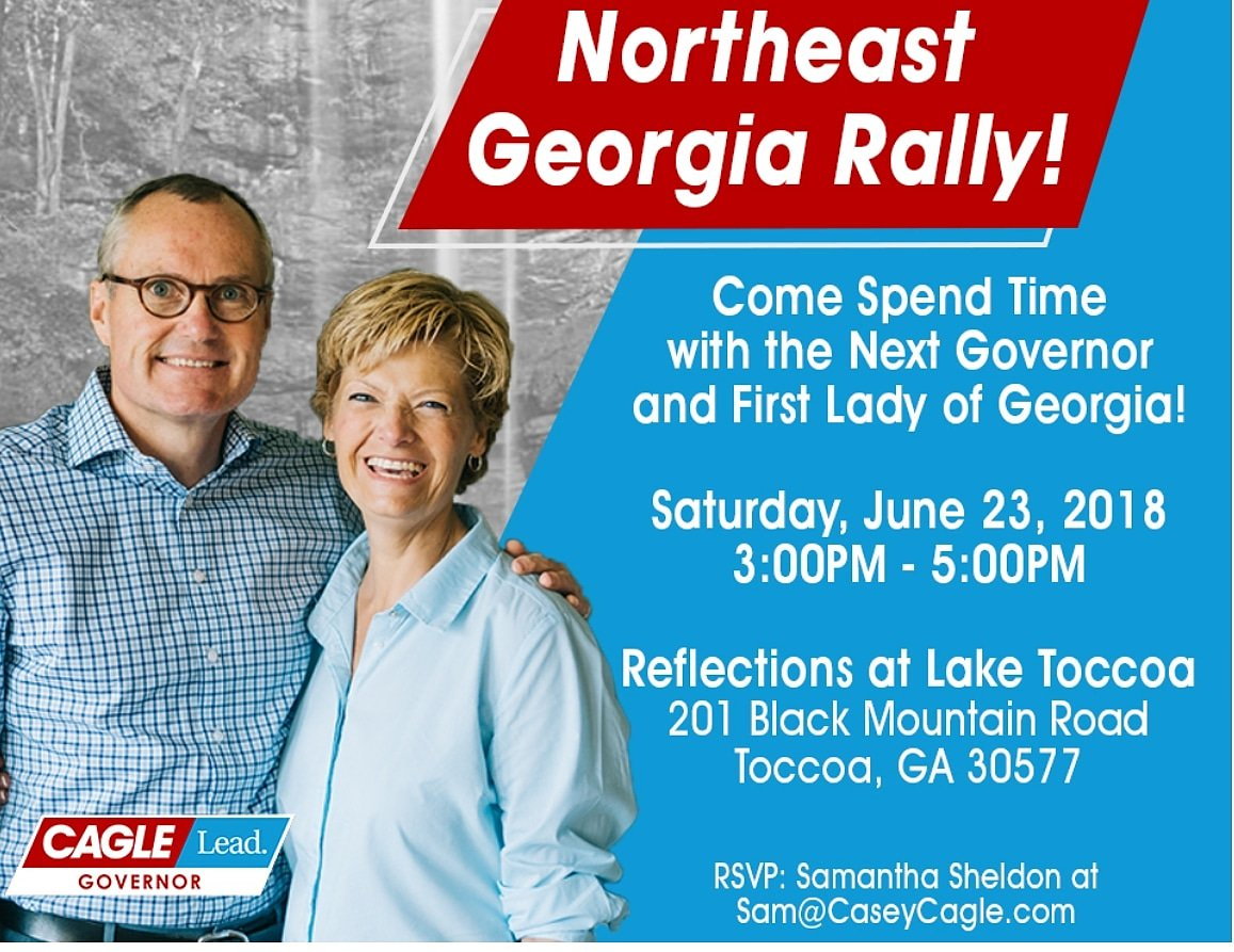 Gonna be a great day in God&#39;s Country!! Join us in Toccoa this afternoon with @CaseyCagle and his amazing wife Nita!! #caglelead #womenforcagle #cagleforallgeorgians <br>http://pic.twitter.com/PsW4ijg4Bm
