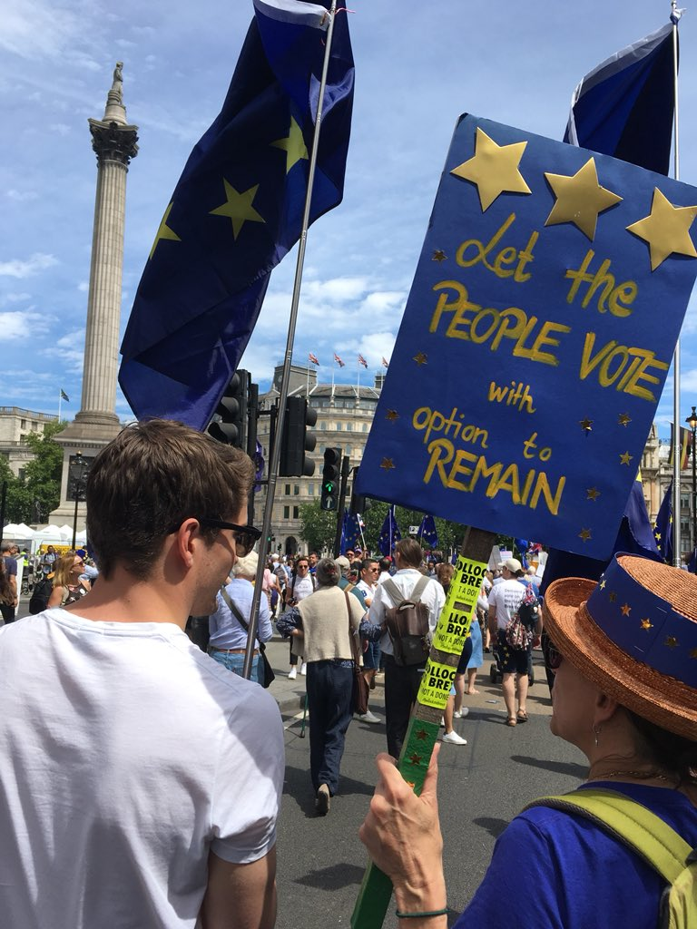 Crowds chanting where's Jeremy Corbyn to the chant his supporters sing... #peoplesvotemarch
