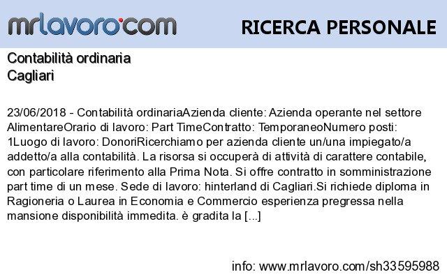 Nuove offerte di #lavoro #Cagliari:Contabilità ordinariaInfo:  https:// www.mrlavoro.com/tw33595988  - Ukustom