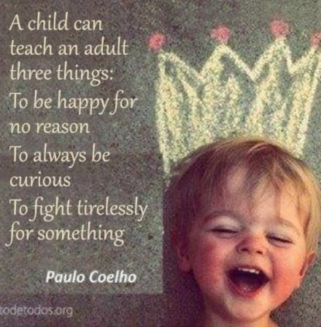 A #child can #teach an #adult three things: To be #happy for no reason To always be curious  To fight tirelessly for something   via @loveGoldenHeart   #ThinkBIGSundayWithMarsha #InspireThemRetweetTuesday #JoyTrain #LightUpTheLOVE #LUTL #MondayMotivation #wednesdaywisdom <br>http://pic.twitter.com/pGEfxNMAZ1