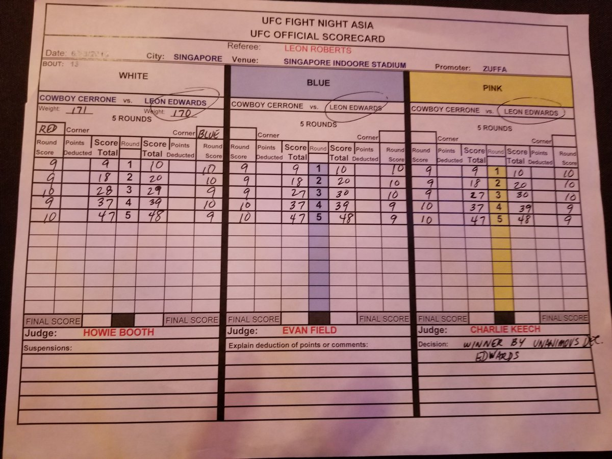 The official #UFCSingapore scorecard for Leon Edwards vs. Donald Cerrone.