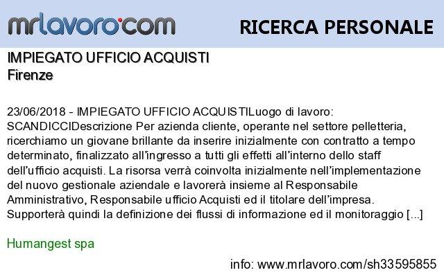 Nuove offerte di #lavoro #Firenze:IMPIEGATO UFFICIO ACQUISTIInfo:  https:// www.mrlavoro.com/tw33595855  - Ukustom
