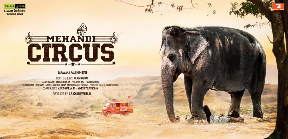 test Twitter Media - First look of @StudioGreen2's #MehandiCircus with  @Madhampatty in lead, story by @Dir_Rajumurugan and directed by #SaravanaRajendhiran. Music by @RSeanRoldan. Excited to know what it's all about! @kegvraja  #MehandiCircusFirstLook https://t.co/7G7gJs5SdN