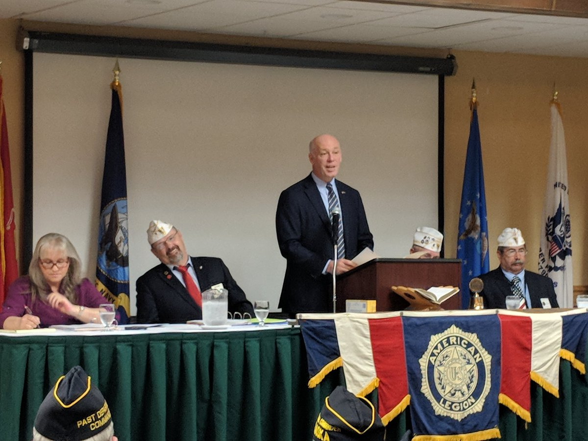 Day 2 of the Department of Montana Convention. Started with our US Representative, Congressman Greg Gianforte shared the importance of protecting our Flag.  @AmericanLegion<br>http://pic.twitter.com/p5c74RUGcB