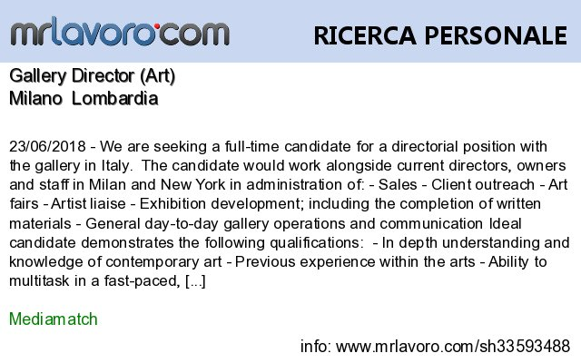 Nuove offerte di #lavoro #Milano:Gallery Director (Art)Info:  https:// www.mrlavoro.com/tw33593488  - Ukustom