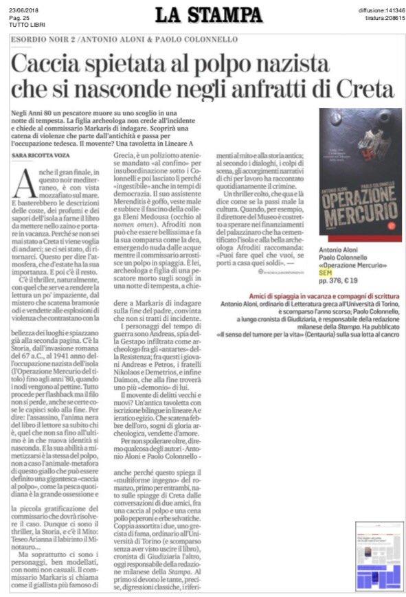 """Una bellissima pagina su @LaStampa dedicata a """"Operazione Mercurio""""! @paolocolonnello #23giugno #leggiamo  - Ukustom"""