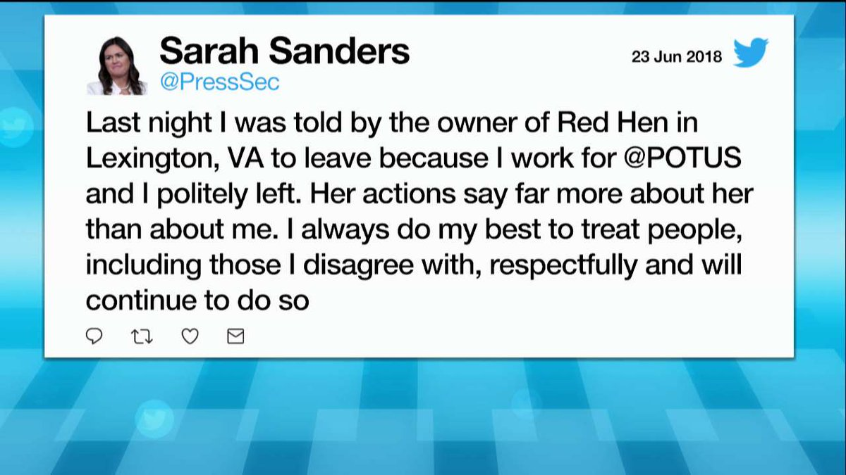 Moments ago, @PressSec tweeted: 'Last night I was told by the owner of Red Hen in Lexington, VA to leave because I work for @POTUS and I politely left.'