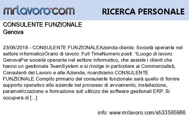 Nuove offerte di #lavoro #Genova:CONSULENTE FUNZIONALEInfo:  https:// www.mrlavoro.com/tw33595966  - Ukustom