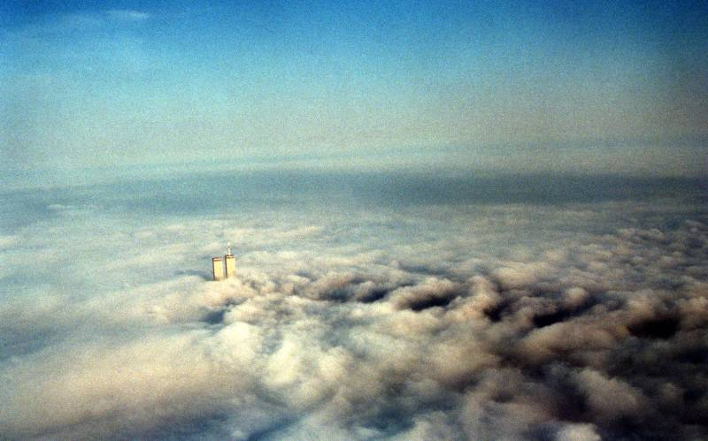The Twin Towers seen above the clouds.  #911Museum Collection, Photo Katie Day Weisberger