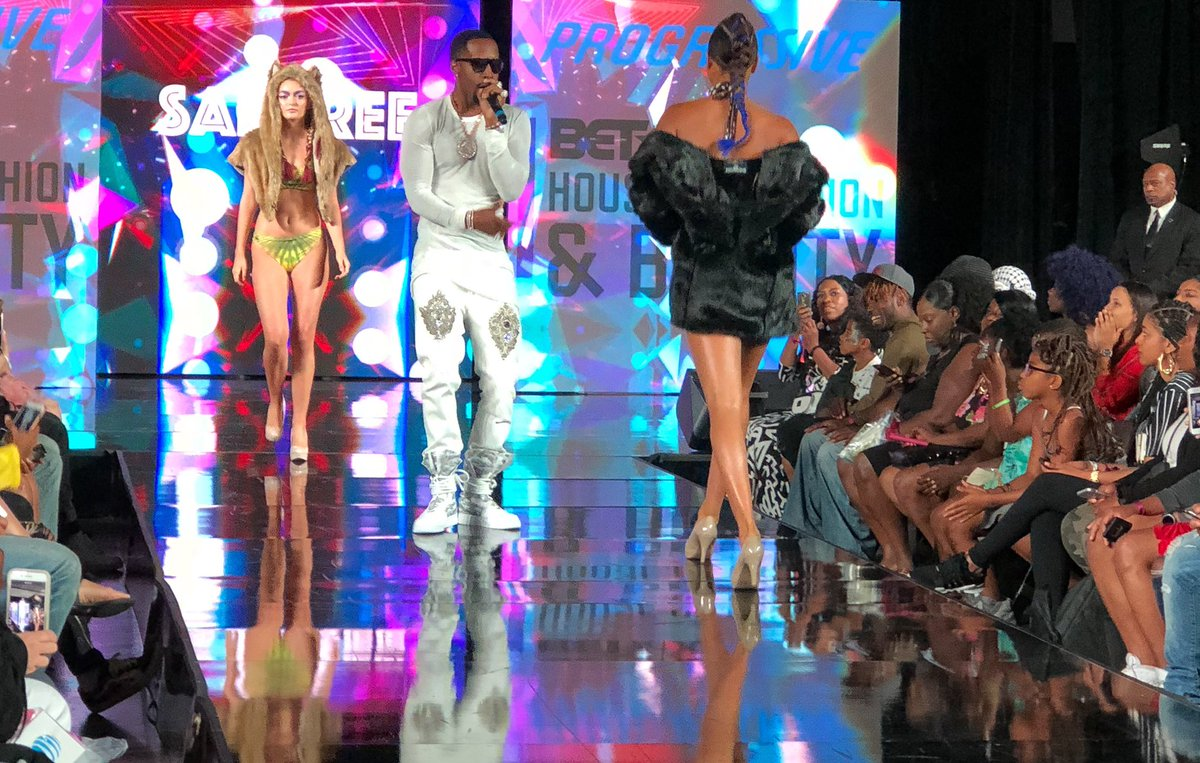.@iamsafaree hypes the crowd at the #BETX House of Fashion and Beauty: Unapologetically Street fashion show
