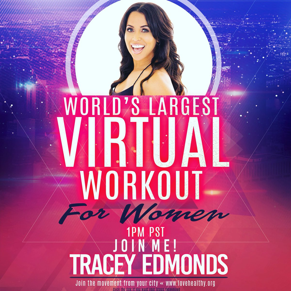 """Having a blast """"workin it"""" at The World's Largest Virtual Workout"""" today!  Shout out to @BET @robbi_reed @MsTinaLawson and EVERYONE here and everywhere who are sharing the experience with us!  About to go back onstage for some yoga!  #alrightnow #alrighters #528hz ✌🏽❤️"""
