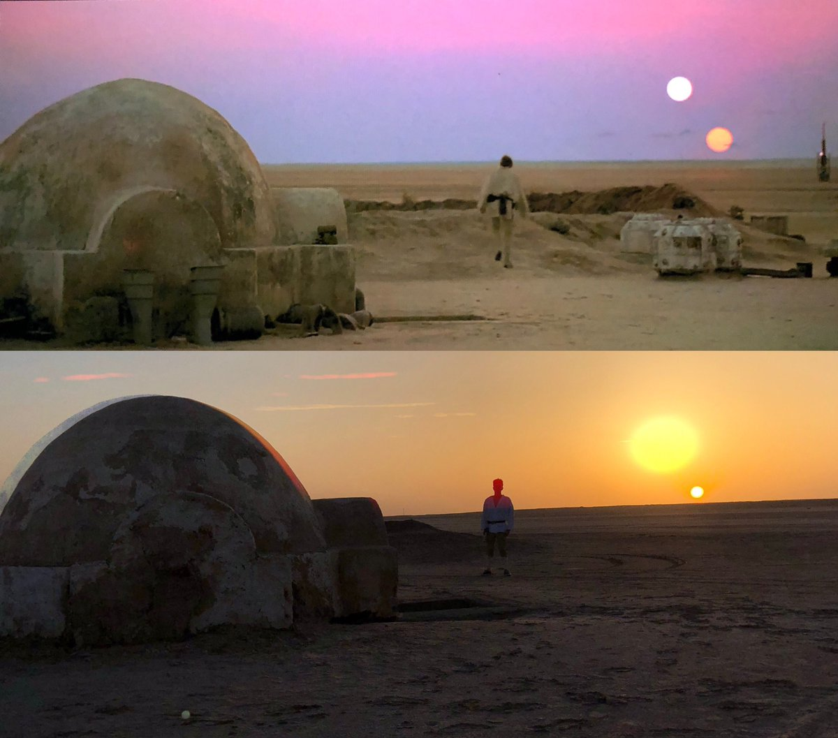 For those who wanted a @StarWars double sunset, we tried our best! Our budget was slightly smaller :) #StarWars