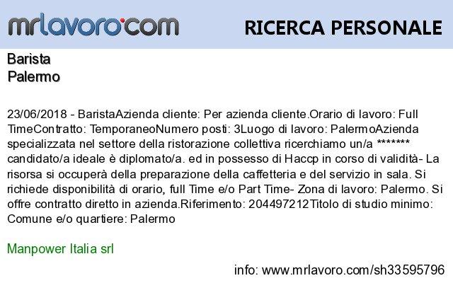 Nuove offerte di #lavoro #Palermo:BaristaInfo:  https:// www.mrlavoro.com/tw33595796  - Ukustom