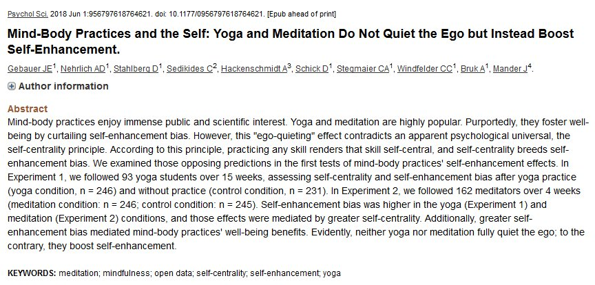 &quot;Neither yoga nor meditation fully quiet the ego; to the contrary, they boost self-enhancement.&quot;  https://www. ncbi.nlm.nih.gov/pubmed/2993280 7?dopt=Abstract &nbsp; …  ironically, this could be a blow to many egos<br>http://pic.twitter.com/VjKvf9qyjo