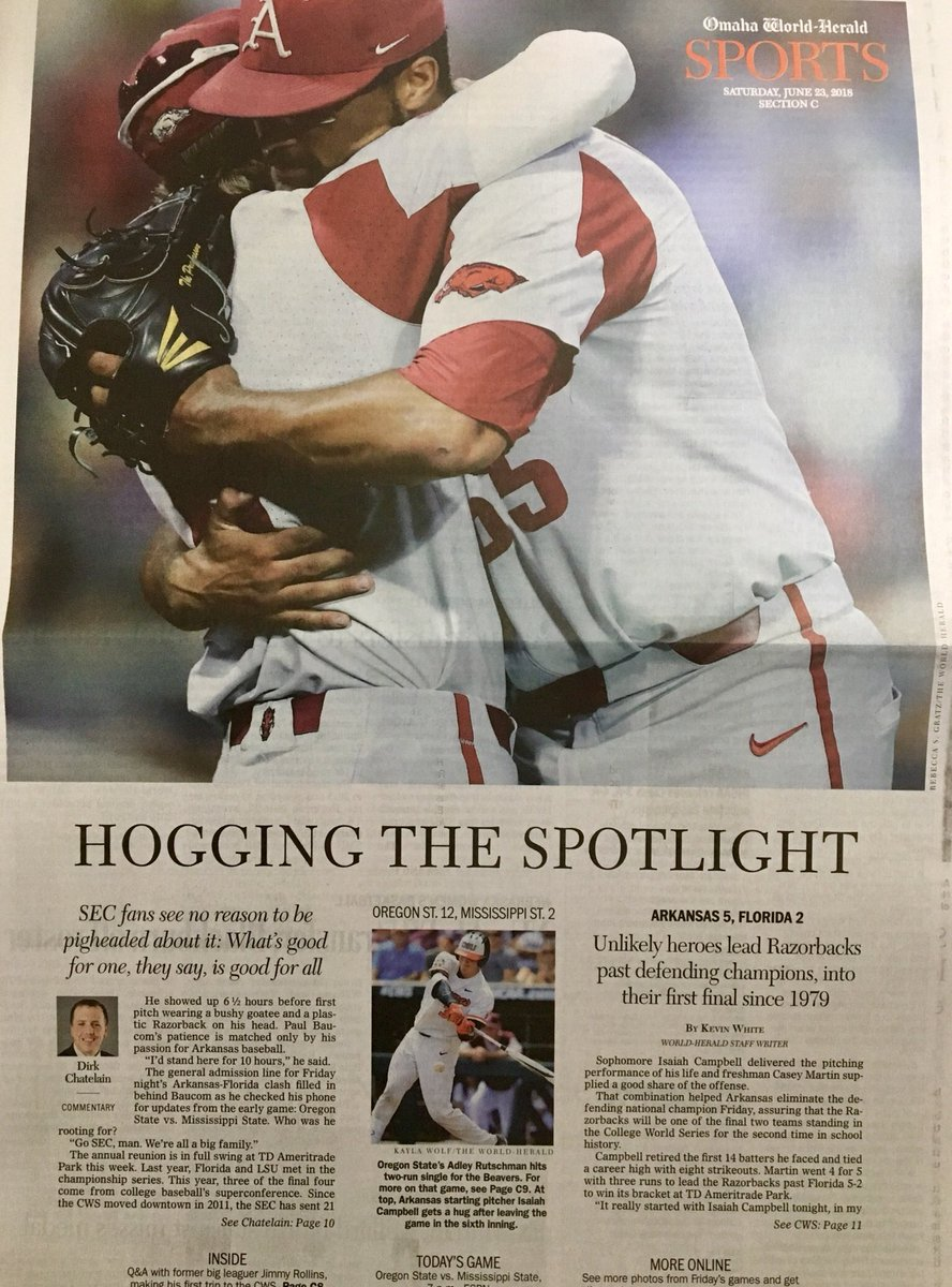 Front page of the @OWHnews sports section is all Hogs.<br>http://pic.twitter.com/2tMbFesaap