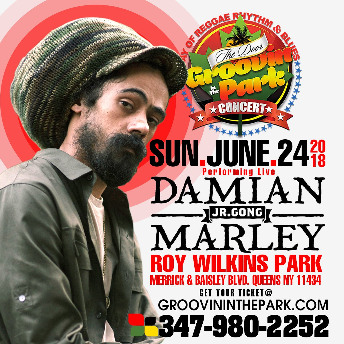 TOMORROW NIGHT 6/24!!! Dont miss Damian Jr Gong Marley at #GroovinInThePark in #Queens #NY!!! Limited tickets available: groovininthepark.com #DamianMarley #StonyHill #JrGong #GongZilla @GroovinOnLife