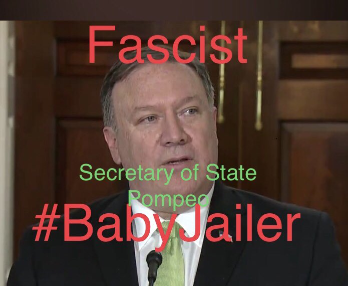Secretary of State Mike Pompeii,  a theocratic fascist replaced Tillerson to further stack the cabinet with theocratic Dominionist fascists. Pompeii is fine with #BabyJail it's all part of the plan.<br>http://pic.twitter.com/jHDCw5YRaY