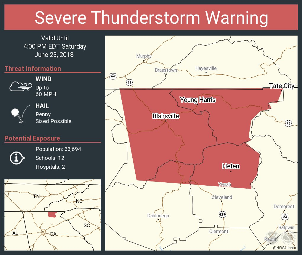 Map Of Young Harris Georgia.Nws Atlanta On Twitter Severe Thunderstorm Warning Continues For