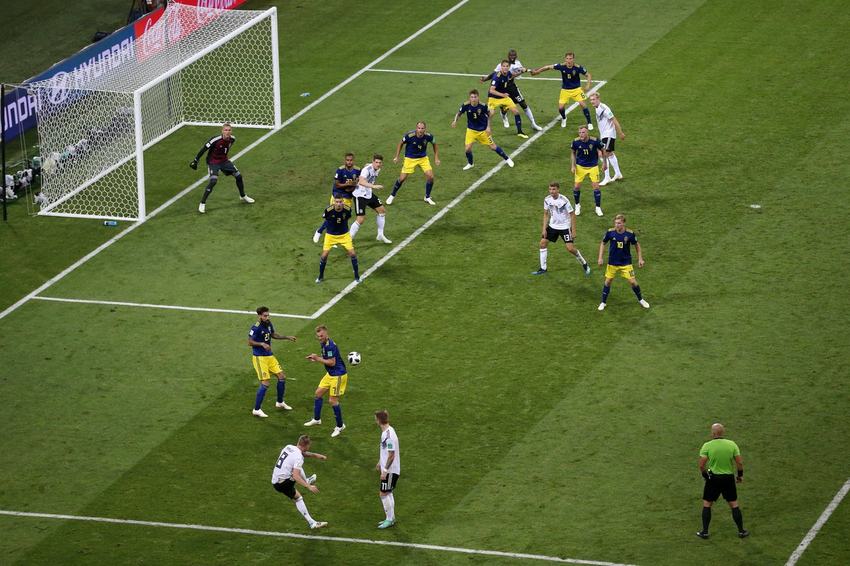 What a goal!  Toni Kroos' curling free kick gives Germany a last second 2-1 win over Sweden to keep its World Cup hopes alive ⚽️  (📸: Getty Images)