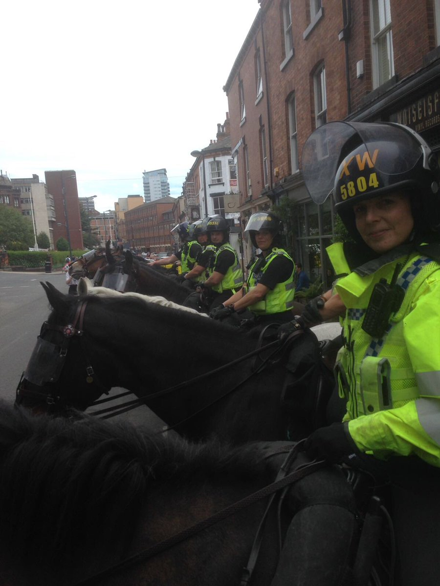 The view down the line of 8 horses in Leeds today <br>http://pic.twitter.com/rrT5pcPODa