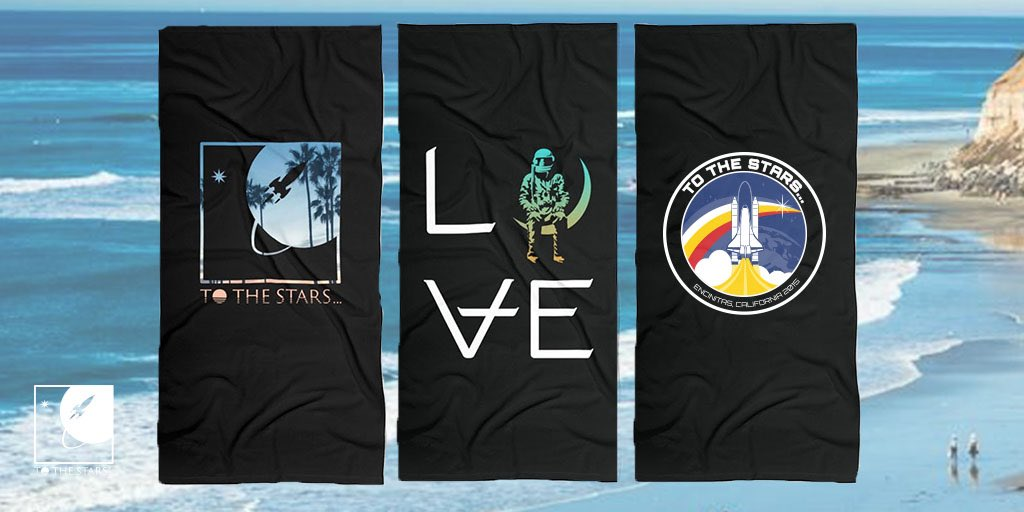 Beach towels are available as part of our #beachvibes #popupshop only through tomorrow so get yours now! tothestars.media/collections/po… #love #tothestars #angelsandairwaves