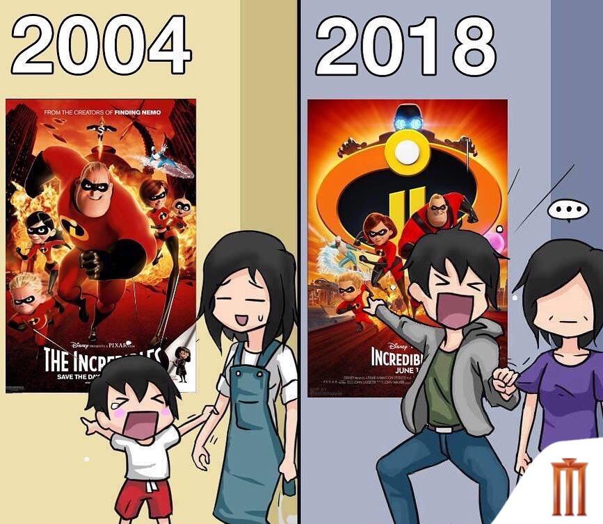 """14 ปีที่แล้วกับตอนนี้ ไหนใครเป็นแบบนี้บ้าง? วันนี้ชวนครอบครัวของคุณไปกู้โลกกับ #Incredibles2  """"รวมเหล่ายอดคนพิทักษ์โลก 2"""" วันนี้ทั้งในระบบ IMAX3D และ 4DX #Incredibles2TH"""