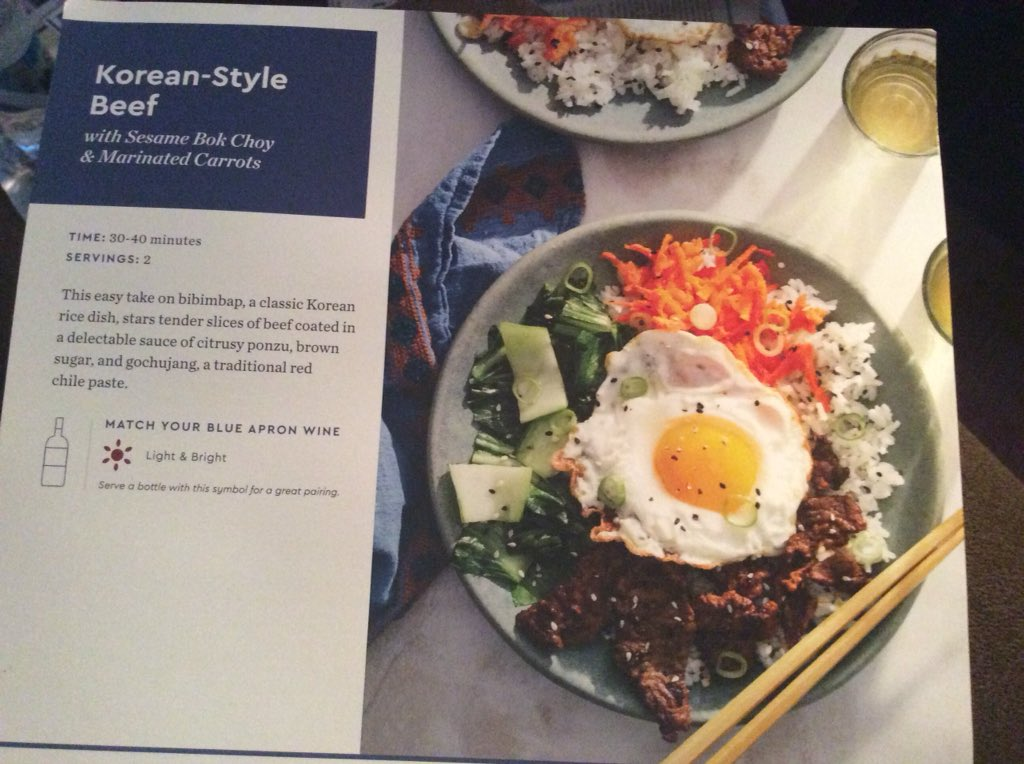 Tonight my Blue Apron meal was:  Korean-style beef w/sesame bok choy &amp; marinated carrots topped with a fried egg &amp; sliced green onion tops. (The green part) Photos include: meal from menu card, ingredients, nutritional facts, &amp; my finished meal.   <br>http://pic.twitter.com/wNvHUGHJ51
