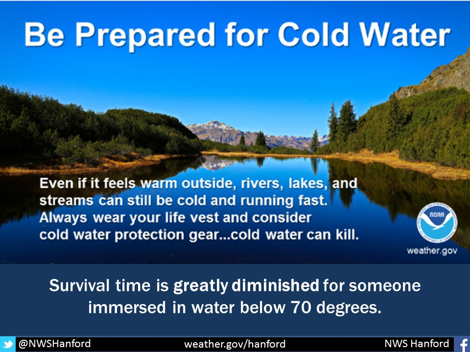 Sad news from @NWSHanford - cold water is very dangerous. Use caution if you travel inland to recreate near a river! #CAwx Check this link for cold water safety tips! https://t.co/OMuJZGIJAE