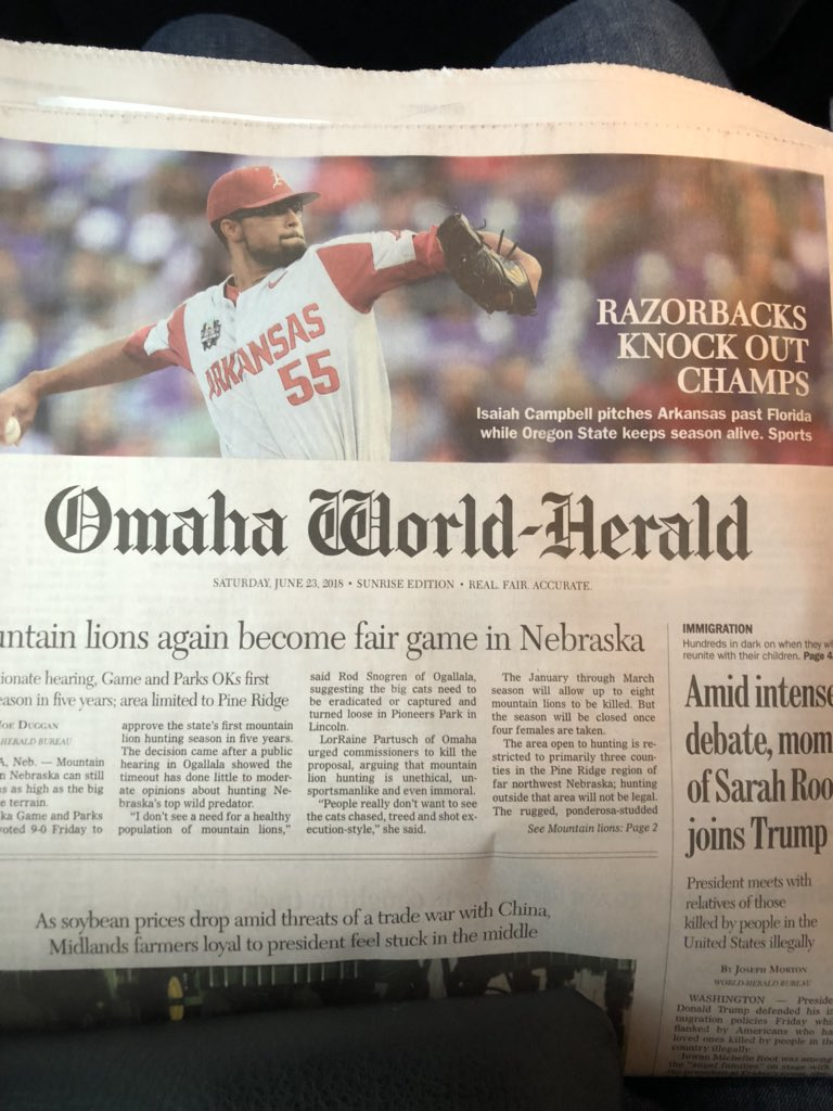 .@isaiah_campbell and @RazorbackBSB making the front page of the paper. <br>http://pic.twitter.com/JOyri93V18
