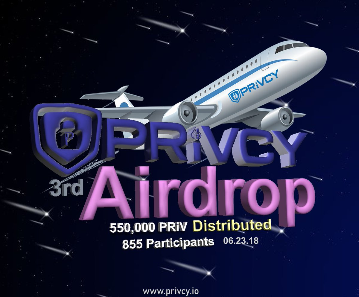 Another successful airdrop  congratulation to all participants  another round is coming! #PRiV #ownyourprivacy #Privacy #airdrop $PRiV @PRiVCY_COIN @privcym4tters @io_airdrops @airdrops_io<br>http://pic.twitter.com/1RkVcli9iS