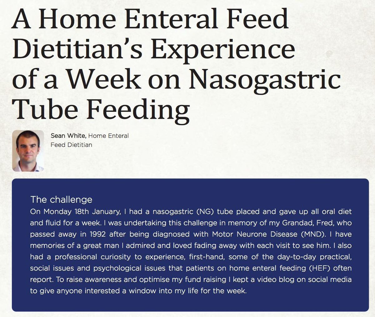 Must read for students studying #dietetics. Specialist home enteral nutrition #dietitian @seanwhite1977 sharing his experiences relying on a nasogastric tube for all nutrition &amp; hydration needs for an entire week   https://www. facebook.com/clinicaldietet ics/ &nbsp; … <br>http://pic.twitter.com/0WMyHUmK3A