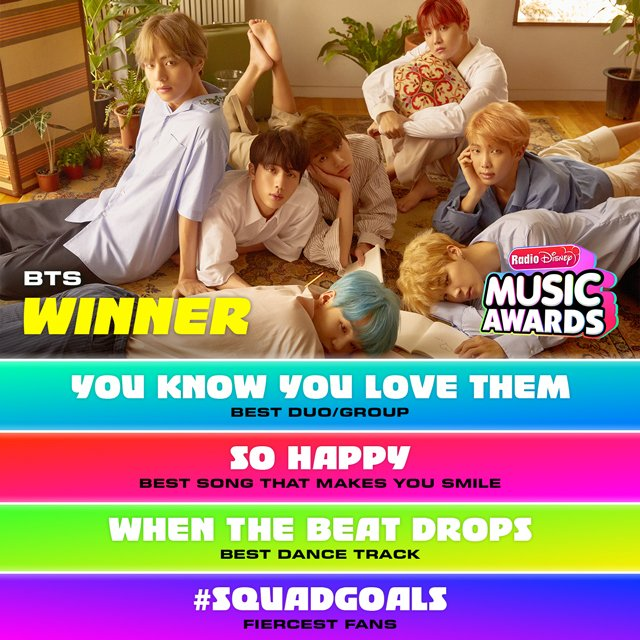 Congrats #BTS and #BTSARMYARMY on 4 ARDYs at #RDMAth#YouKnowYouLoveTheme#SoHappy #WhenTheBeatDrops!#SquadGoals @bts_bighit @BTS_twt
