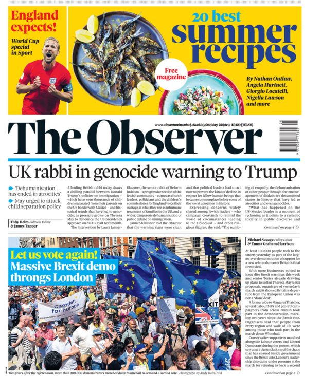 Well done marchers. Front page news in the Observer. #StopBrexitMarch<br>http://pic.twitter.com/btX6FLTnbm