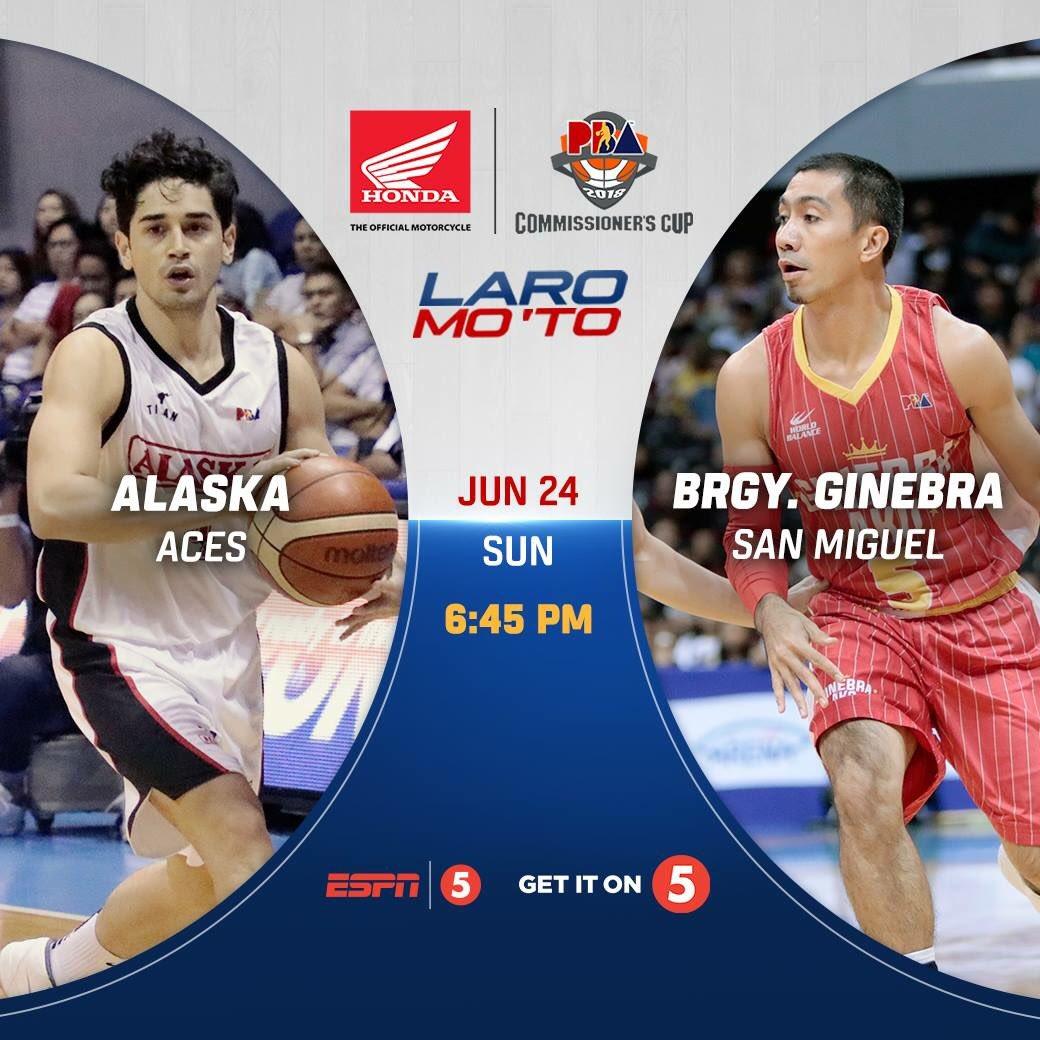 2018 PBA Commissioner's Cup brought to you by Honda: @Alaska_Aces vs @barangayginebra | #PBAonESPN5 #PBALaroMoTo   Smart Araneta Coliseum  6:45 PM  @TV5manila    http:// espn5.com  &nbsp;  <br>http://pic.twitter.com/BFTu3r4fY2