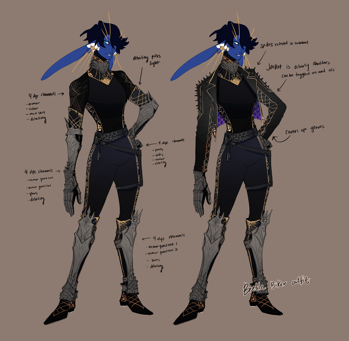 OK CONSIDER!!!! a motorcycle type outfit for the new beetle!! the jacket toggles on and off, and the sleeves and the back of the jacket have patches for your guild emblem #gw2 #guildwars2<br>http://pic.twitter.com/I6cr7iHBvN