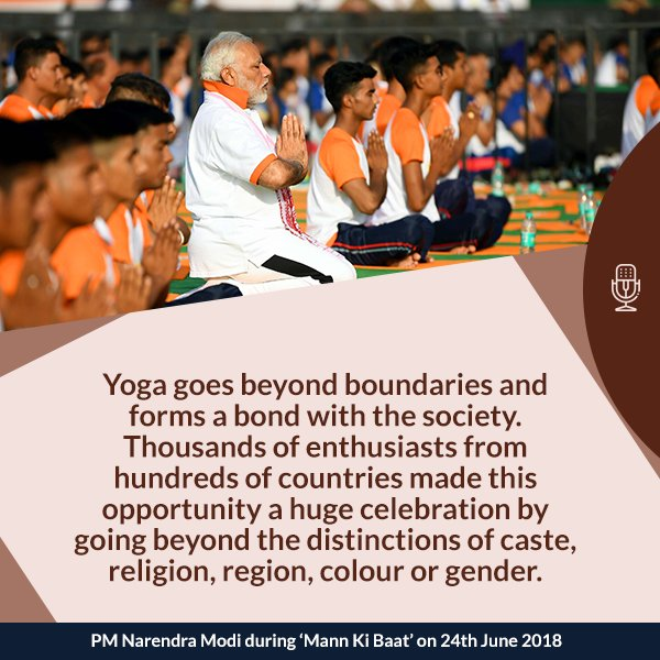 Yoga goes beyond boundaries and forms a bond with the society. #MannKiBaat  https://www. facebook.com/narendramodi/v ideos/10160599501785165/ &nbsp; … <br>http://pic.twitter.com/sExp0MMo0q