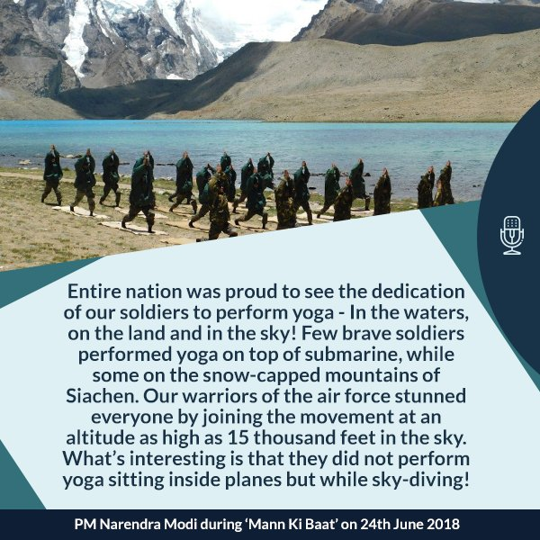 Entire nation was proud to see the dedication of our jawans to perform yoga. #MannKiBaat  https://www. facebook.com/narendramodi/v ideos/10160599501785165/ &nbsp; … <br>http://pic.twitter.com/5XfltPqvMN