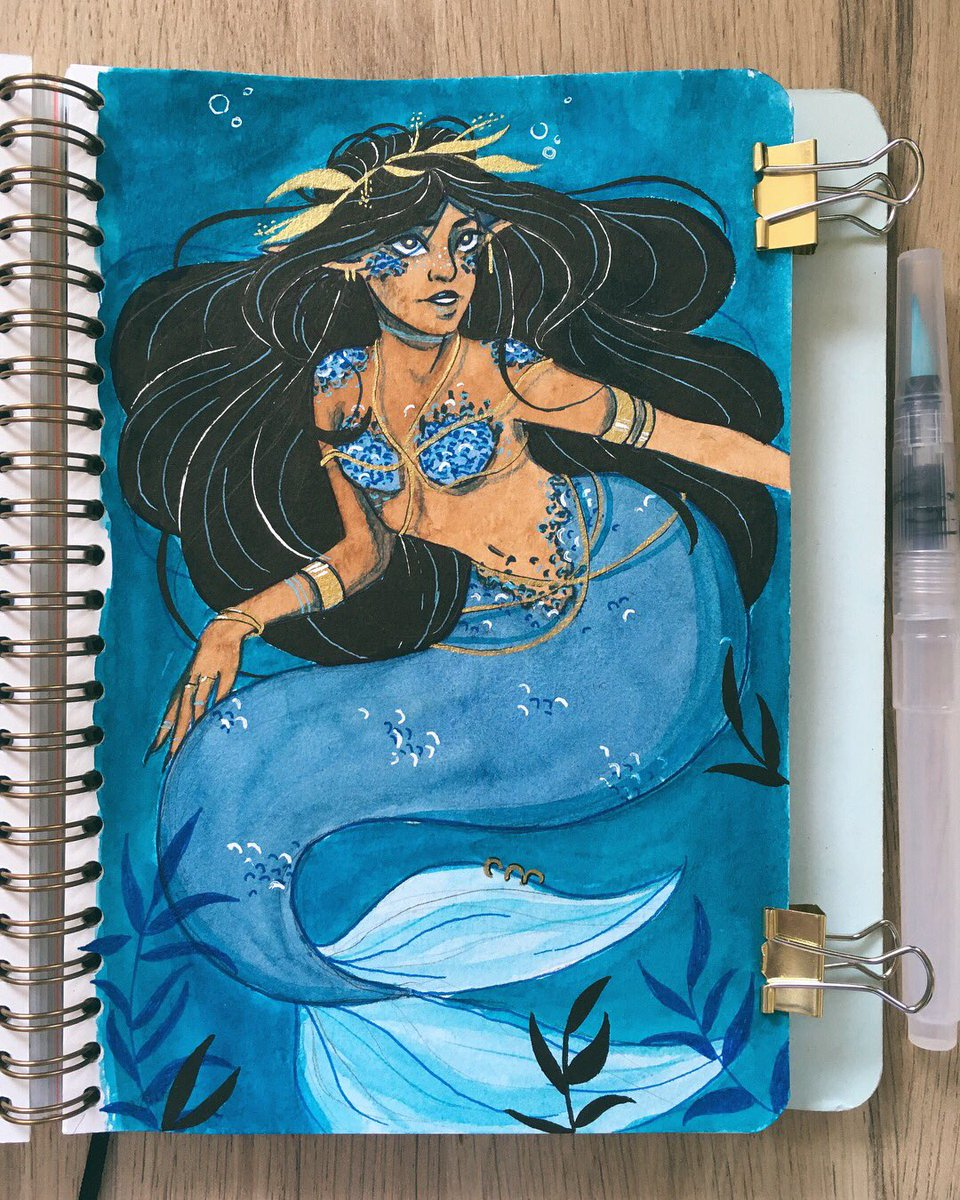Finally drew and colored a mermaid  (I'm so mad because the colors of the background and the tail are really different on paper but it doesn't show here... OH WELL) #mermaid #mermay #imlate #art #originalart #traditionalart #watercolor #blue<br>http://pic.twitter.com/IGhxZXGBLs