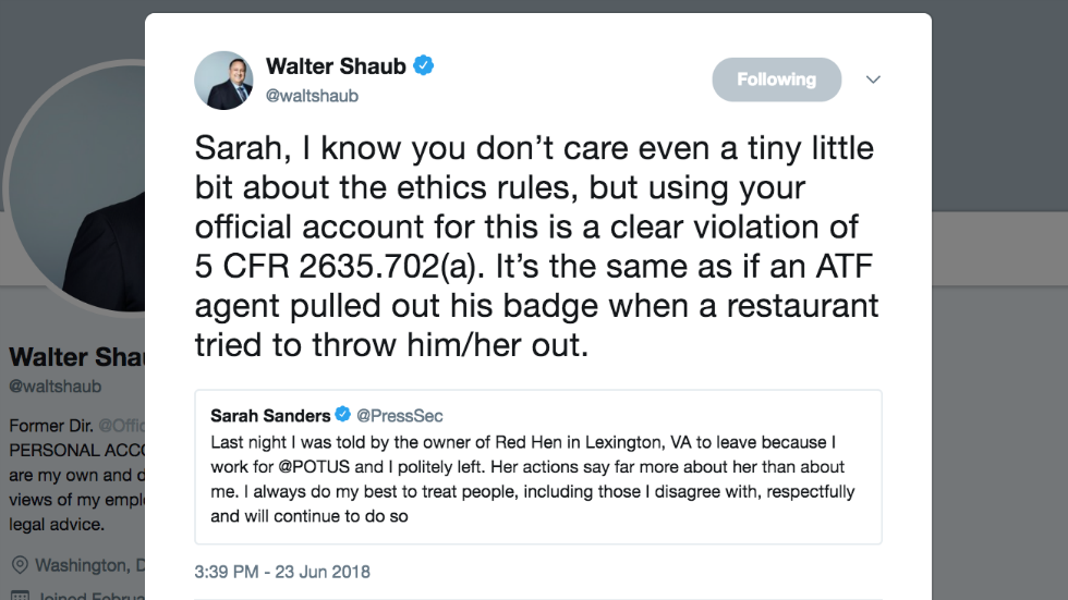 Ex-White House ethics chief: Sarah Sanders tweet about being kicked out of restaurant violates ethics laws https://t.co/2bboIskOF1