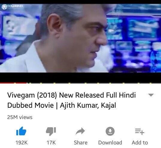 Reached 25 million views  With192k+ likes Vera level reach in Hindi dubbed version  #Vivegam #thala @vivekoberoi @MsKajalAggarwal  @ThalaAjith_FC @Thalafansml @AjithForceKL<br>http://pic.twitter.com/giDf6arCUM