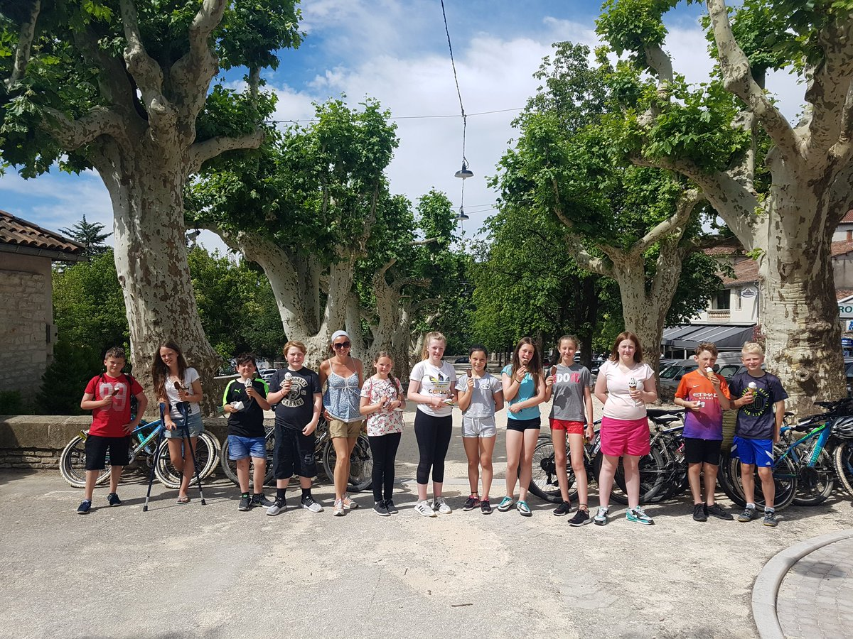 Ice creams in Barjac for the biking group today. Well deserved on another hot day! 🇫🇷🌞 #FranceResilienceCamp2018  @braytonacademy1