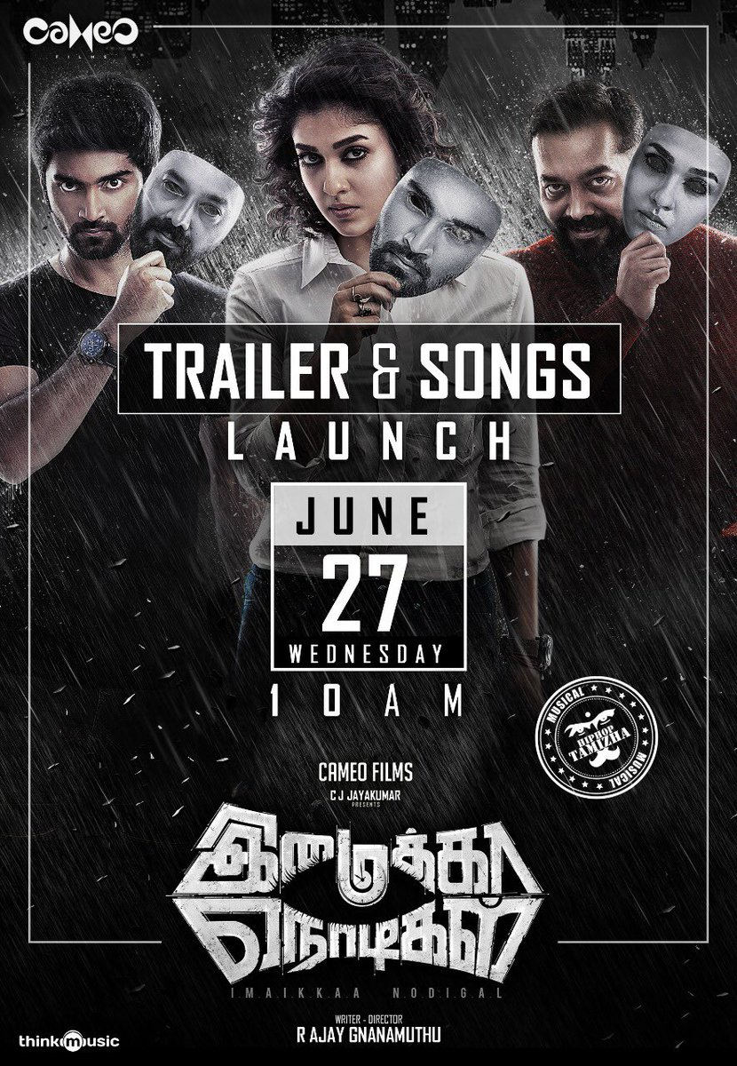 test Twitter Media - #Nayanthara's eagerly awaited thriller #ImaikkaaNodigal with @Atharvaamurali and directed by @AjayGnanamuthu -Trailer and song launch June 27 via @CameoFilmsIndia Music @hiphoptamizha https://t.co/q70PGn7qGB